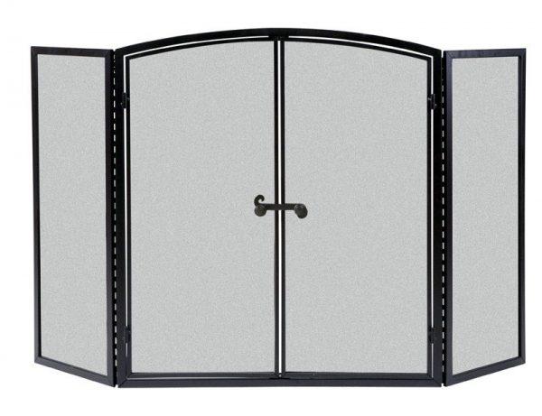 Panacea Black Matte Metal Fireplace Screen