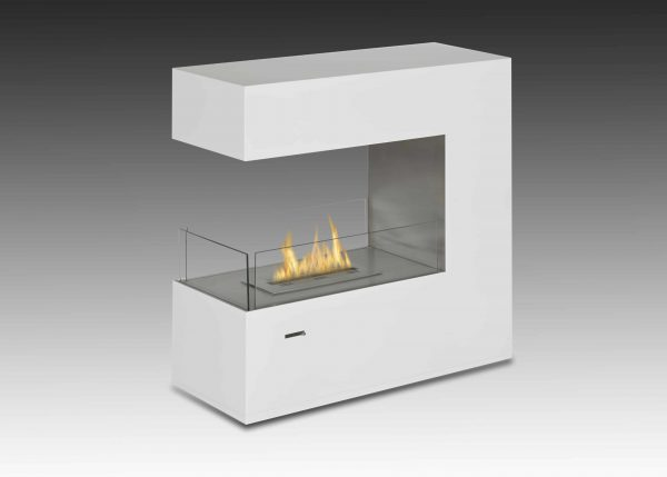 Paramount Free Standing Fireplace in Gloss White & Stainless Steel