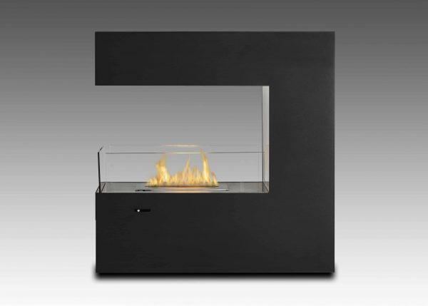 Paramount Free Standing Fireplace in Matte Black & Stainless Steel