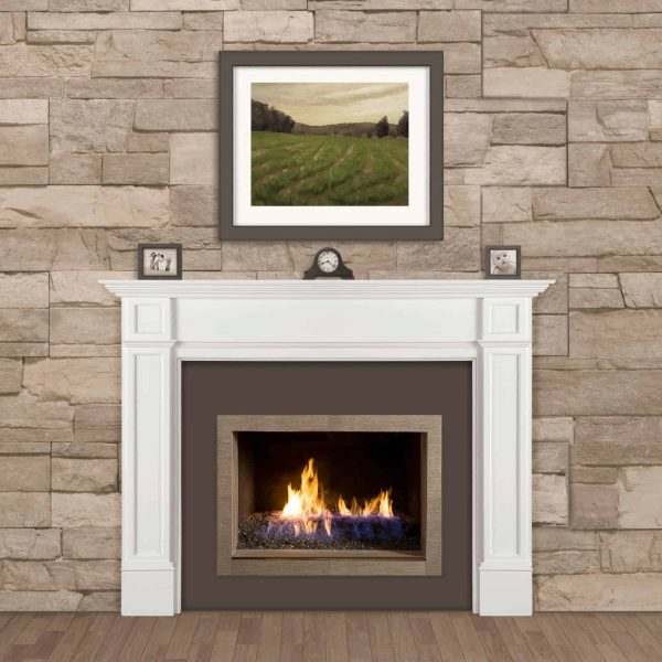 Pearl Mantels 540-56 56 in. The Marshall MDF Fireplace Mantel - White 1