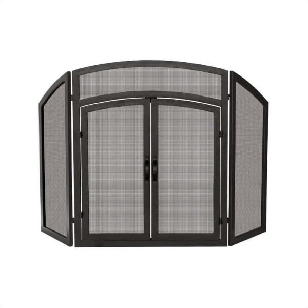 Pemberly Row 3 Fold Black Wrought Iron Arch Top with Doors