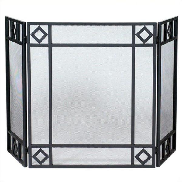 Pemberly Row 3 Fold Black Wrought Iron Screen with Diamond Design