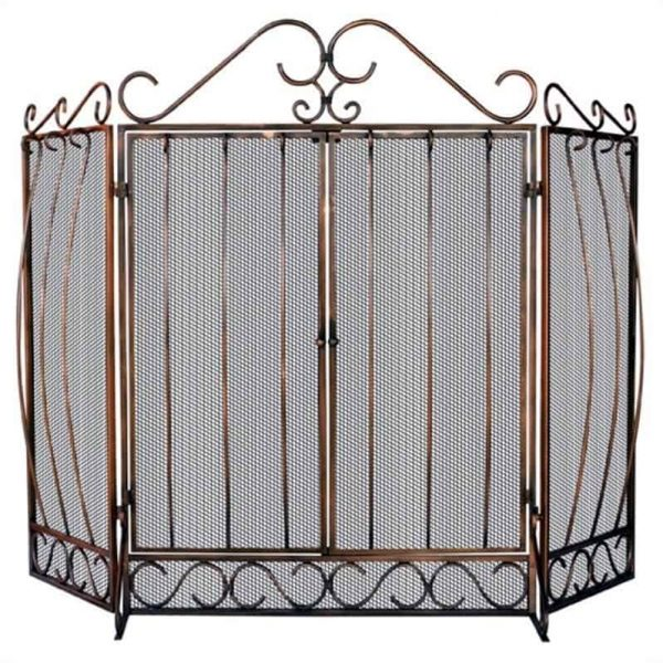 Pemberly Row 3 Fold Bronze Screen with Bowed Bar Scrollwork
