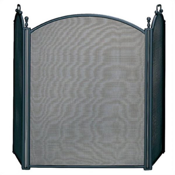 Pemberly Row 3 Fold Large Diameter Black Screen with Woven Mesh