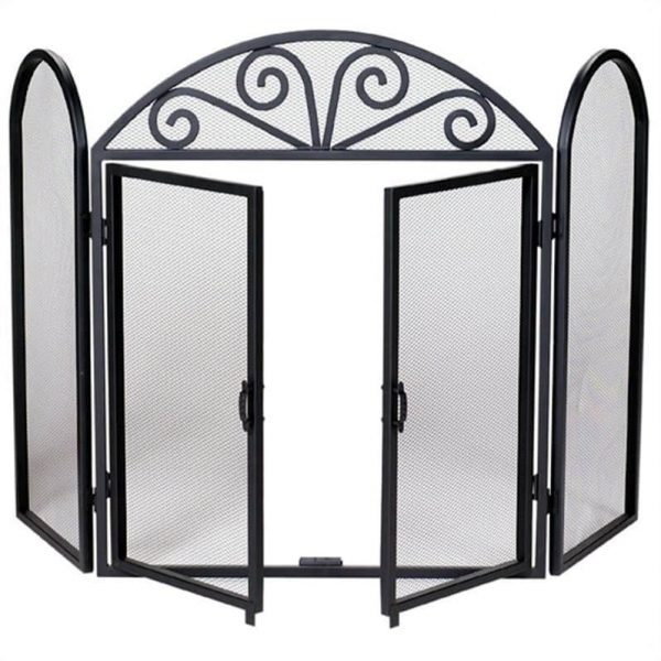 Pemberly Row 3 Fold Wrought Iron Screen with Opening Doors