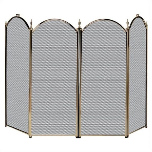 Pemberly Row 4 Fold Antique Brass Screen