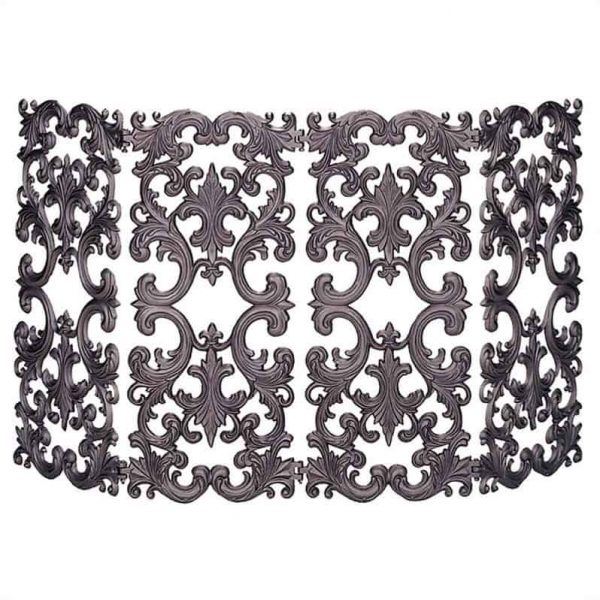 Pemberly Row 4 Fold Bronze Cast Aluminum Fireplace Screen