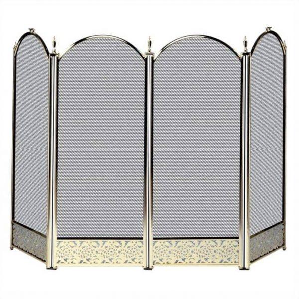 Pemberly Row 4 Fold Polished Brass Screen