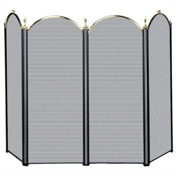 Pemberly Row 4 Fold Polished Brass/Black Screen