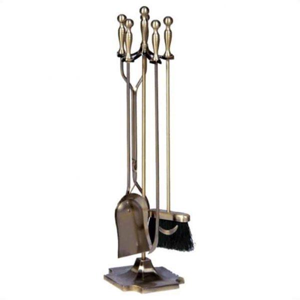 Pemberly Row 5 Piece Antique Brass Fireset