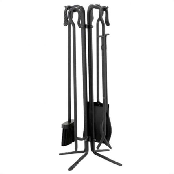 Pemberly Row 5 Piece Black Wrought Iron Fireset With Crook Handles