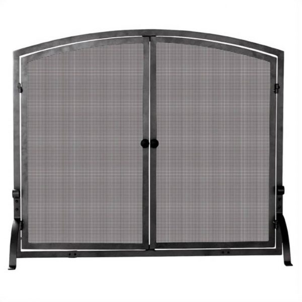 Pemberly Row Medium Single Panel Iron Screen with Doors