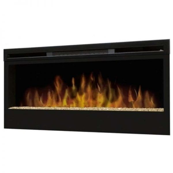 Pemberly Row Wall Mounted Electric Fireplace with Glass Bed in Black