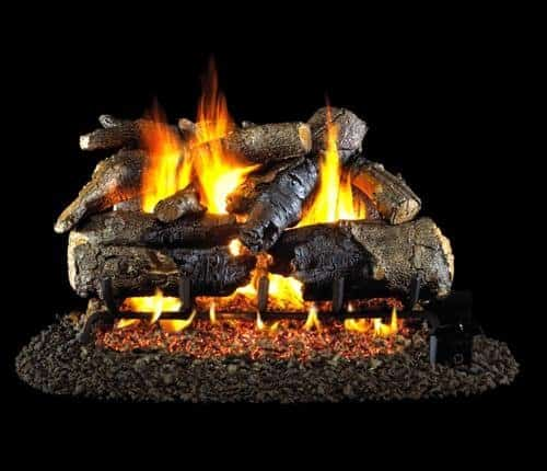 Peterson Real Fyre 18-inch Charred American Oak Log Set With Vented Natural Gas G45 Burner - Match Light