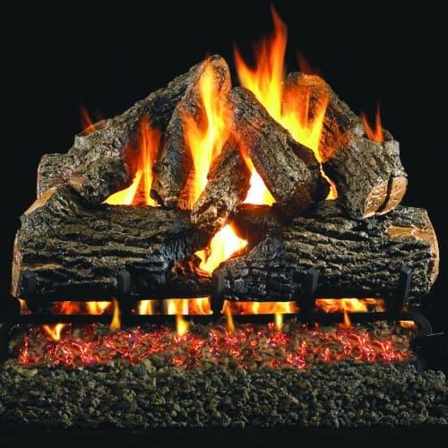 Peterson Real Fyre 18-inch Charred Oak Log Set With Vented Propane G4 Burner - Match Light