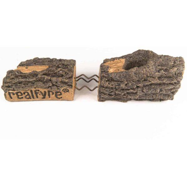 Peterson Real Fyre 18-inch Charred Rugged Split Oak Log Set With Vented Natural Gas G45 Burner - Match Light 2