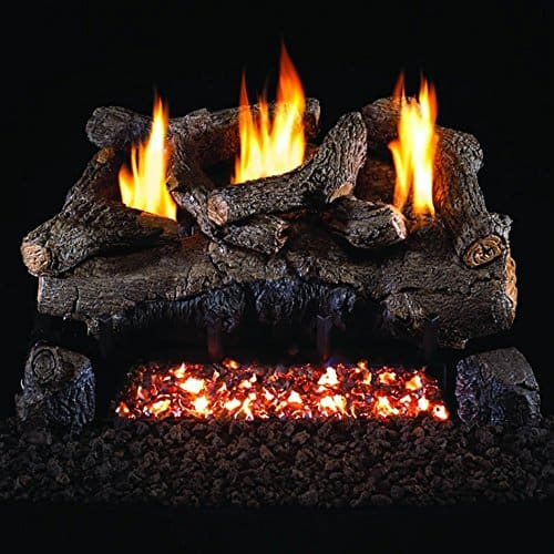 Peterson Real Fyre 18-inch Evening Fyre Log Set With Vent-free Propane Ansi Certified G18 Burner - Basic On/Off Remote