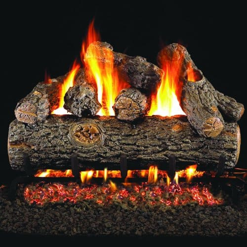Peterson Real Fyre 18-inch Golden Oak Designer Plus Gas Log Set With Vented Propane G4 Burner - Manual Safety Pilot