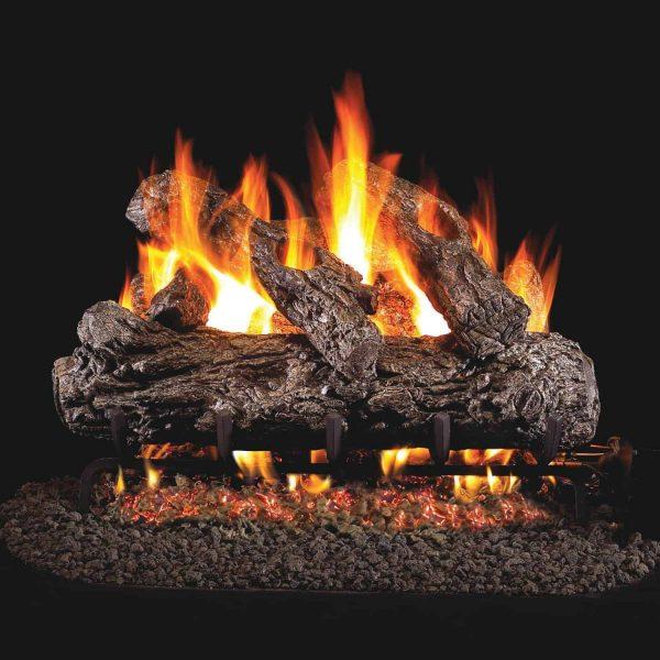 Peterson Real Fyre 18-inch Rustic Oak Log Set With Vented Natural Gas G45 Burner - Match Light