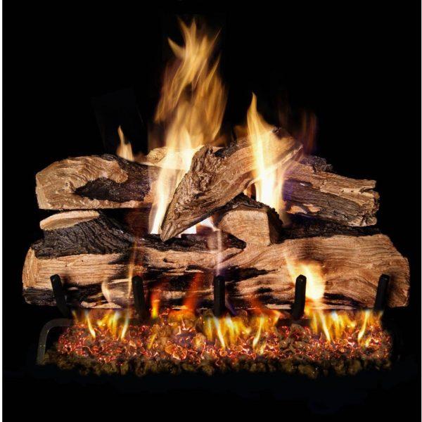 Peterson Real Fyre 20-inch Split Oak Designer Plus Log Set With Vented Natural Gas G45 Burner - Match Light