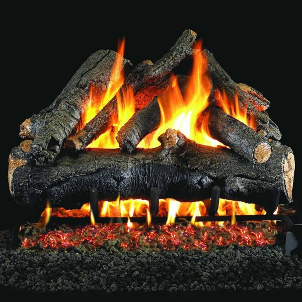 Peterson Real Fyre 24-inch American Oak Gas Log Set With Vented Natural Gas G45 Burner - Match Light