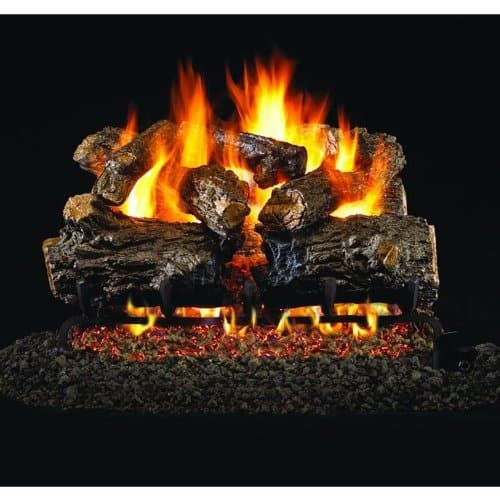 Peterson Real Fyre 24-inch Burnt Rustic Oak Gas Log Set With Vented Propane G4 Burner - Manual Safety Pilot