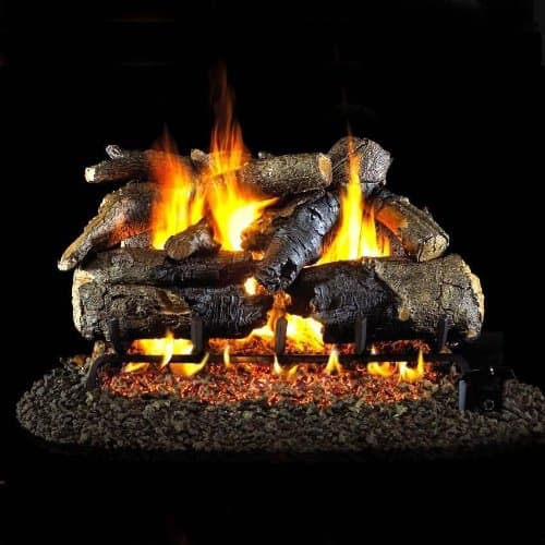 Peterson Real Fyre 24-inch Charred American Oak Log Set With Vented Natural Gas G45 Burner - Match Light