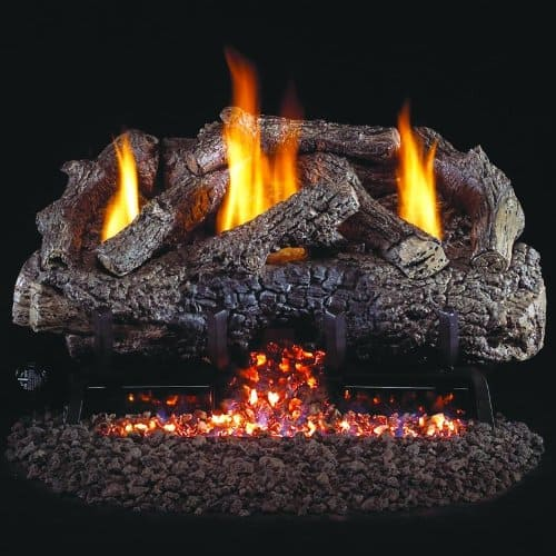 Peterson Real Fyre 24-inch Charred Frontier Oak Log Set With Vent-free Natural Gas Ansi Certified G10 Burner - Variable Flame Remote