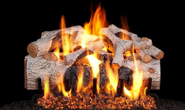 Peterson Real Fyre 24-inch Charred Mountain Birch Gas Log Set With Vented Natural Gas G45 Burner - Match Light