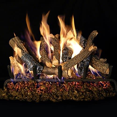 Peterson Real Fyre 24-inch Charred Oak Stack Log Set With Vented G4 Burner