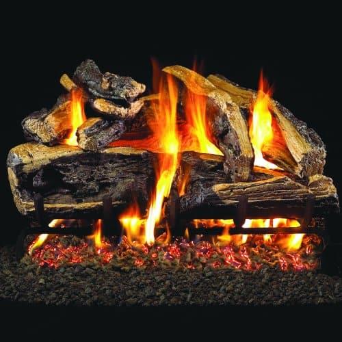 Peterson Real Fyre 24-inch Charred Rugged Split Oak Log Set With Vented Natural Gas G45 Burner - Match Light