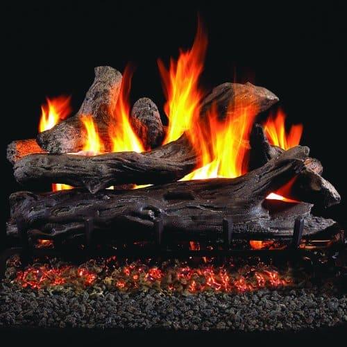 Peterson Real Fyre 24-inch Coastal Driftwood Log Set With Vented Natural Gas G45 Burner - Match Light