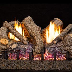 Peterson Real Fyre 24-inch Foothill Oak Log Set With Vent-free Propane Ansi Certified G19 Burner - Basic On/Off Remote