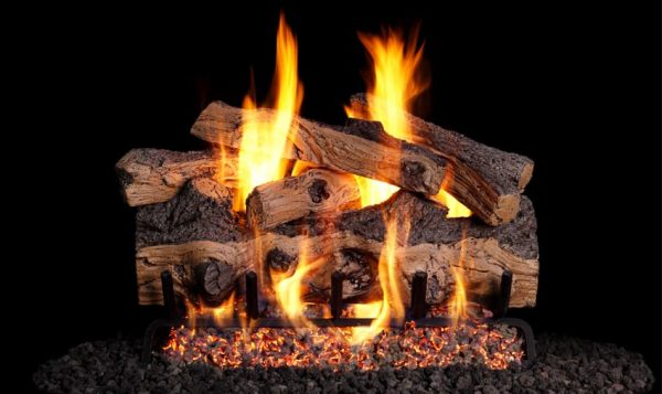 Peterson Real Fyre 24-inch Gnarled Split Oak Designer Log Set With Vented Natural Gas G4 Burner - Match Light