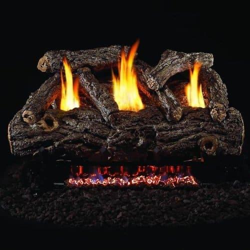 Peterson Real Fyre 24-inch Golden Oak Designer Log Set With Vent-free Natural Gas Ansi Certified G9 Burner - Manual Safety Pilot