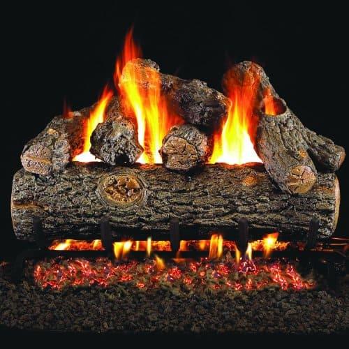 Peterson Real Fyre 24-inch Golden Oak Designer Plus Outdoor Gas Log Set With Vented Natural Gas Stainless G45 Burner - Match Light