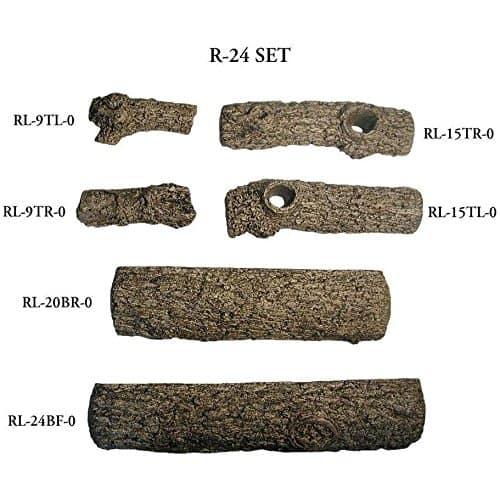 Peterson Real Fyre 24-inch Golden Oak Log Set With Vented Propane Ansi Certified G46 Burner - Variable Flame Remote 3