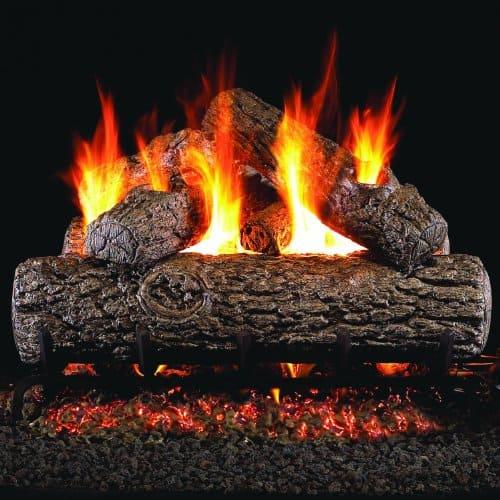 Peterson Real Fyre 24-inch Golden Oak Log Set With Vented Propane Ansi Certified G46 Burner - Variable Flame Remote