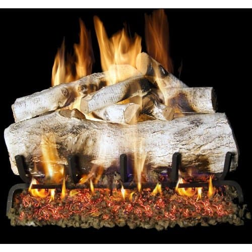 Peterson Real Fyre 24-inch Mountain Birch Log Set With Vented Natural Gas G4 Burner - Match Light