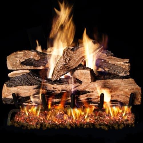 Peterson Real Fyre 24-inch Split Oak Designer Plus Log Set With Vented Natural Gas Ansi Certified G46 Burner - Electronic On/Off Remote