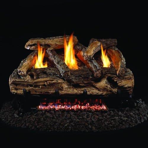 Peterson Real Fyre 24-inch Split Oak Log Set With Vent-free Propane Ansi Certified G9 Burner - Manual Safety Pilot