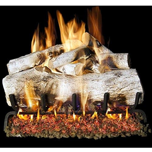 Peterson Real Fyre 24-inch White Mountain Birch Outdoor Log Set With Vented Natural Gas Stainless G45 Burner - Match Light