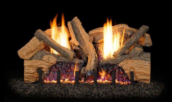 Peterson Real Fyre 30-inch Foothill Split Oak Log Set With Vent-free Propane Ansi Certified G19 Burner - Variable Flame Remote