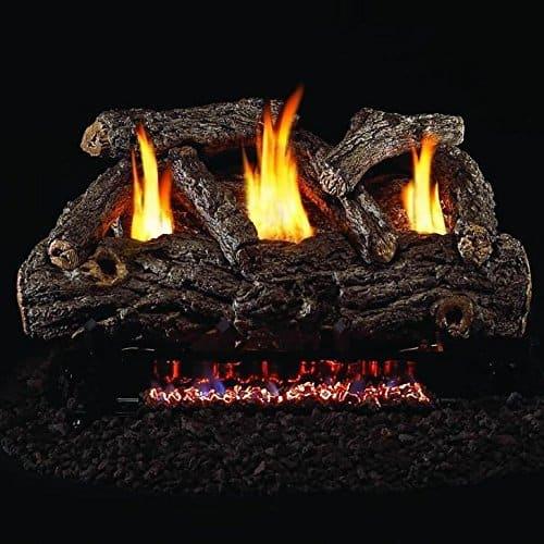 Peterson Real Fyre 30-inch Golden Oak Designer Log Set With Vent-free Natural Gas Ansi Certified G9 Burner - Manual Safety Pilot