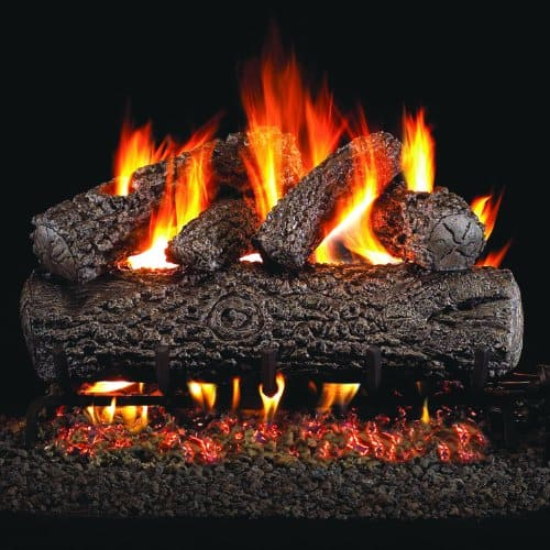 Peterson Real Fyre 30-inch Post Oak Gas Log Set With Vented Natural Gas Ansi Certified G46 Burner - Manual Safety Pilot