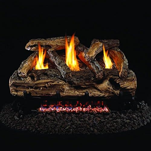 Peterson Real Fyre 30-inch Split Oak Log Set With Vent-free Natural Gas Ansi Certified G9 Burner - Variable Flame Remote