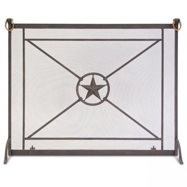 Pilgrim 18325 Single Panel Western Star Screen - Distressed Bronze with Leather Accents