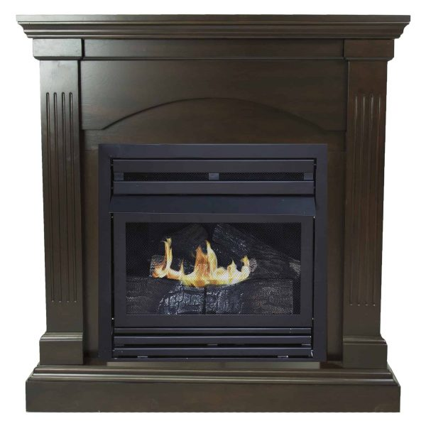 Pleasant Hearth 36 in. Natural Gas Compact Tobacco Vent Free Fireplace System 20,000 BTU 1