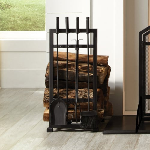 Pleasant Hearth 4-Piece Harper Fireplace Toolset with Log Holder 1