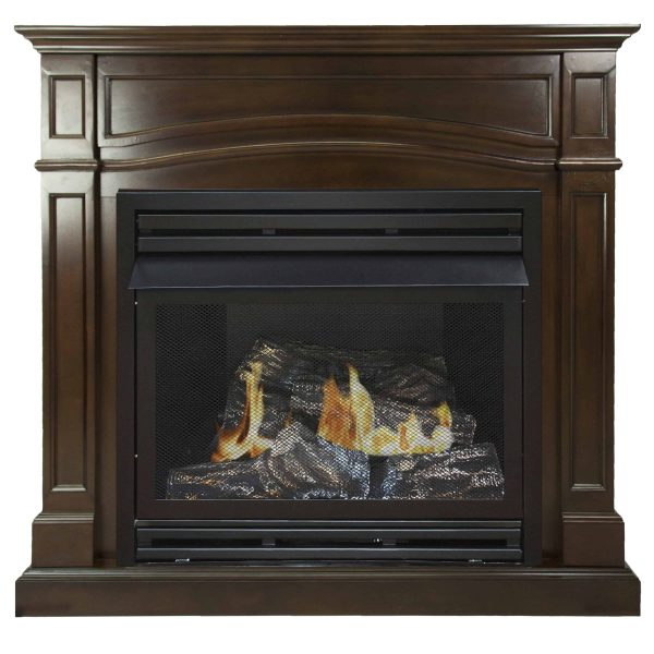 Pleasant Hearth 46 in. Natural Gas Full Size Cherry Vent Free Fireplace System 32,000 BTU 1